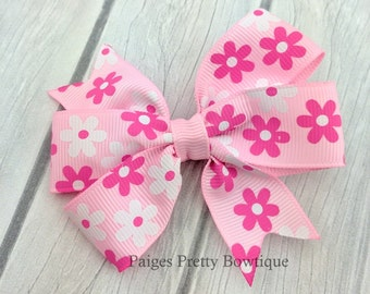 """3"""" Pink & White Floral Hair Bow-Alligator Clip-Baby Hair Bow-Toddler Hair Bow"""