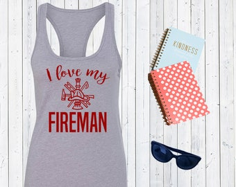 I love my Fireman Shirt - Firefighter Wife Shirt - Fire Wife shirt - Love Firemen Shirt - Baseball Tee, Firefighter Love - Fire Wife [C0243]