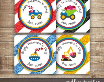 Personalized Valentine's Day Labels / Transportation Boy's Favor Tags, Labels or Cupcake Toppers / Kid's Valentines - Printable