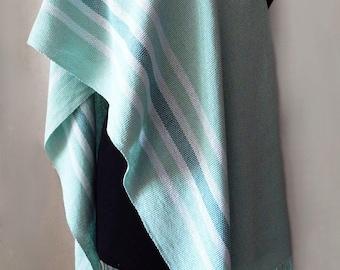 Handwoven linen mint scarf, menthol scarf, handwoven mint wrap, light-green scarf, womens scarf, linen wrap, summer scarf, light-green wrap