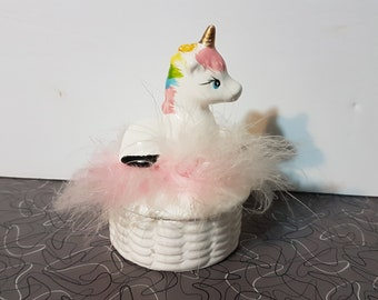 Vintage 1980s Unicorn Trinket Box