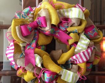 Burlap Wreath - Yellow & Pink