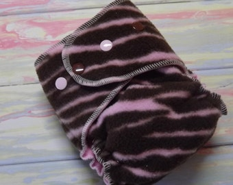 Petite One Size Fleece AI2 Hybrid Fitted Hemp Cotton Cloth Diaper Pink and Brown Zebra