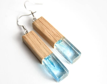 Resin and wood earrings with blue crystal, Wood and resin jewelry, Wood Resin Earrings, Resin Earrings, Gift For Her, Geometric Earrings