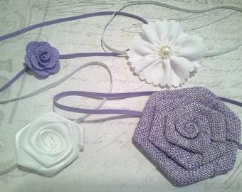 set 4 headbands, baby headbands, newborn headbands, baptism headband, flower headbands, vintage headbands, dainty headbands, lavender white