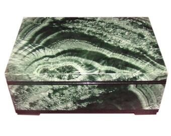 Genuine Seraphinite Jewelry Box. 100% Natural stone from Irkutsk, Urals, Russia
