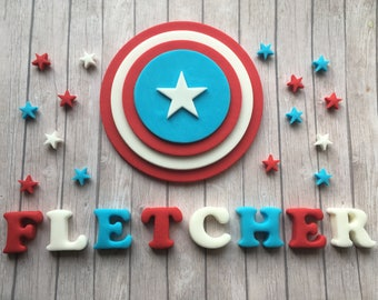 Large Edible fondant sugar personalised Captain America logo cake topper set - Marvel Superhero party
