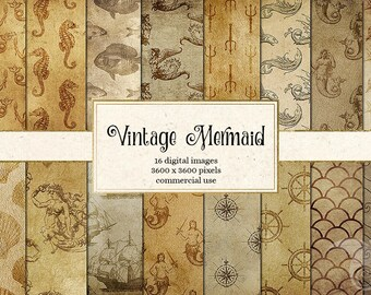Vintage Mermaid Digital Paper, Nautical Digital Paper, Antique Royal Heraldic Crest, Medieval Heraldry Scrapbook Paper Instant Download