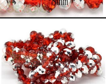 Set of 70 rondelles in silver and red glass! 8x6mm!