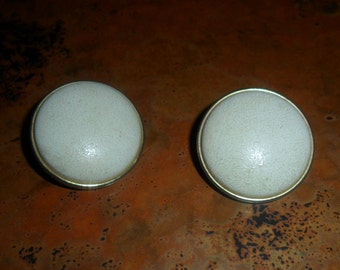 White Leather Clip on Earrings 1950's Vintage
