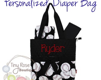 Personalized Diaper Bag, Baseball Monogrammed Baby Tote, Changing Pad, Mommy Bag