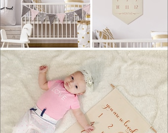 "You are so loved- (Gold or Copper) Baby Milestone Hanging Canvas Newborn Decor & Photo Prop- 100% Natural Canvas 22.5""H x 12.5""W- Customize"