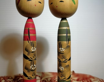 "Ms. Olive and Red kokeshi doll -Vintage Kawaii kokeshi doll- Olive,Red, silver,Black (1 cm x 15 cm ) - 0.4 "" W x 5.9 "" H"