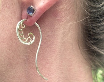Sterling silver and 10k gold Nautilus earrings