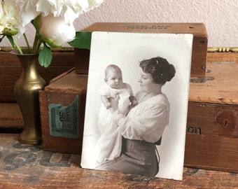 Mother and Baby Antique Photo 1917 Portrait Vintage Sepia Black and White Distressed Print Family Heirloom Ephemera Decor