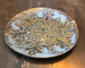 Handmade, ceramic, decorative, snowflake, large plate