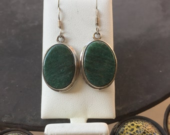 Silver and verdite earrings
