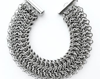 Wide Stainless Steel Chainmaille Bracelet Elfsheet Weave
