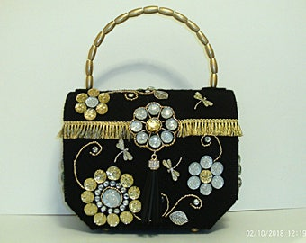 Black silver and gold large trunk bag