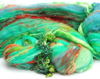Textured, Chunky Carded Art Batts + Locks - Koi Pond - 4.1 ounces - For Spinning or Felting