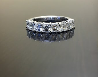 Art Deco Platinum Asscher Cut Diamond Engagement Band - Platinum Diamond Wedding Band - Asscher Cut Ring - Asscher Cut Band - Platinum Band