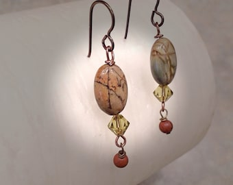 Jasper Earrings, Picasso Jasper Gemstones,  Ear-Wire Choices, Hypo-allergenic, Sterling or Clip-On
