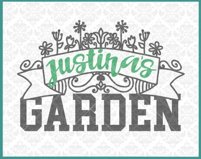 CLN0328 Name Frame Floral Flower Garden Mother's Day Sign SVG DXF Ai Eps PNG Vector Instant Download Commercial Cut File Cricut Silhouette
