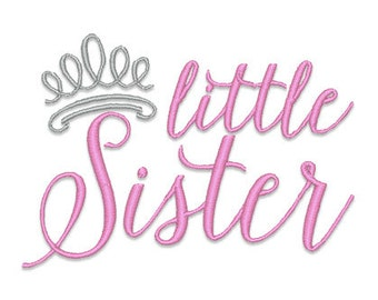 Little Sister Tiara Embroidery Design- Instant Download