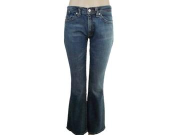 Levis 529 Jeans W30 L32 Blue Bootcut Factory Faded Dark Blue Denim UK 8