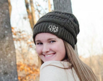 Monogrammed CC. Beanie Hat - MANY COLORS