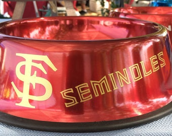 Medium 4 Cup Dog Bowl, Florida State University, metal, rust proof, dent proof, metallic, made to order, personalized, stainless steel