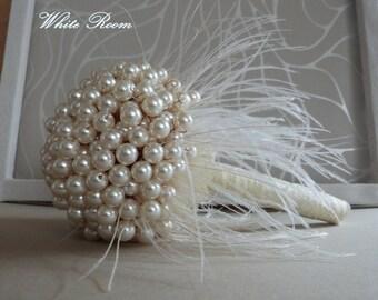Wedding pearl bouquet, Brooch bouquet, Handmade bouquet, Wedding bouquet, Feather bouquet, Ivory bouquet, Bride bouquet, Vintage bouquet