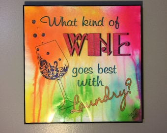 Laundry Room Art // Laundry Room Decor // Laundry Room Decorating // Wine Art // Housewarming Gift // Home Decor // Wall Art