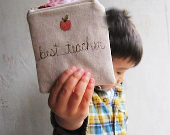 Teacher Gifts Personalized, Coin Purse, Teacher Gift, Gift Card Holder, Zipper Pouch, Teacher Appreciation Gift, Kindergarten, Preschool