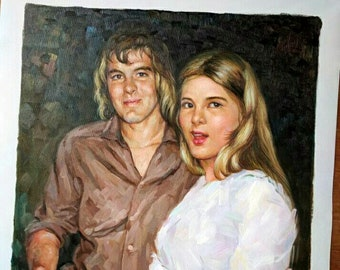 Hand painted commission portrait painting , photo into oil painting, custom portrait art from digital images