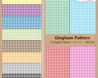 Digital Scrapbook Paper Pack - GINGHAM PATTERN - Instant Download