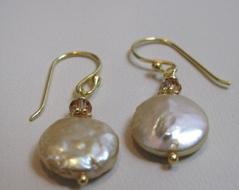 Champagne Coin Pearl Earrings
