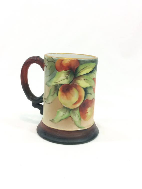 J P Limoges Hand Painted Tankard Mug, Peaches & Leaves, Brown Red Green, Harvest Fall Colors, Antique Bone China Porcelain