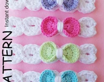 CROCHET HEADBAND Pattern BABYS headband pattern Girls headband pattern 8 sizes Download pattern Pdf Baby girl headband Bow headband Uk pdf