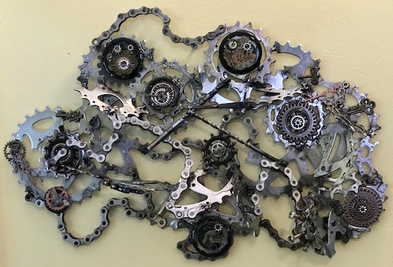 Custom welded upcycled bicycle parts wall hanging