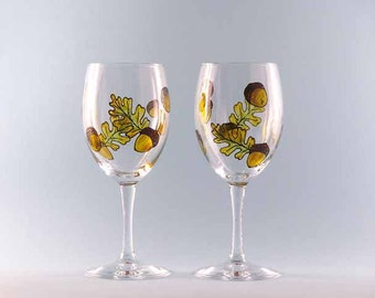Hand Painted Fall Wine Glasses -  Fall Wine Glasses  -  Acorn Wine Glasses - Fall Wine Glass Gift - Set of Two