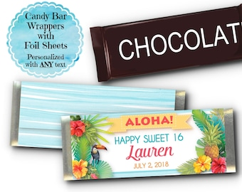 12 Candy Bar Wrappers, Party Favors, Hawaiian, Tropical, Hibiscus Flowers, Pineapple, Luau, Pool Party, Summer, Bridal, Baby Shower, Wedding