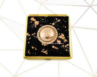 Faceted Medallion Geometric Compact Mirror Inlaid in Hand Painted Enamel with Gold Splash Design with Color and  Personalized Options