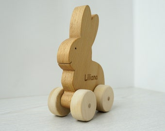 Rabbit Pull Toy- Wooden Animal on Wheels- Gift