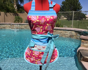 Sassy Turtles Vendor Apron with Bib, Womens Plus Sizes, great for gardening, crafts, sewing, Teachers, Farmers Market, Sea Buddies