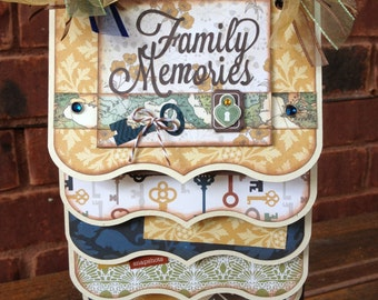 SALE Premade Family Cascading Scrapbook Mini Album 10 pages Stand not included
