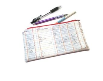 Math fabric zippered pencil case, pouch, holder. Math geek nerd gift.