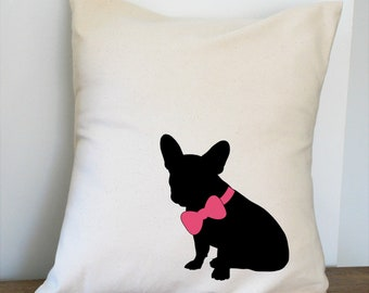 Frenchie with Bow Pillow Cover Natural Color Canvas with Black Dog Shape 18x18 Inch Cover Made to Order