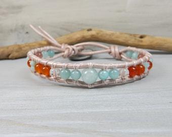 Aqua Bracelet. Leather Wrap Bracelet. Orange Blue Bracelet. Stone Bracelet. Stone Jewelry. Power Bracelet. Larimar Stone. Blue Bracelet