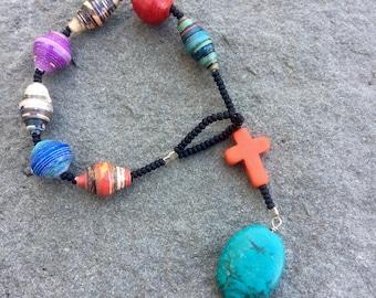 Handmade African paper bead, orange howlite and turquoise prayer bracelet- Anglican/ Protestant rosary bracelet